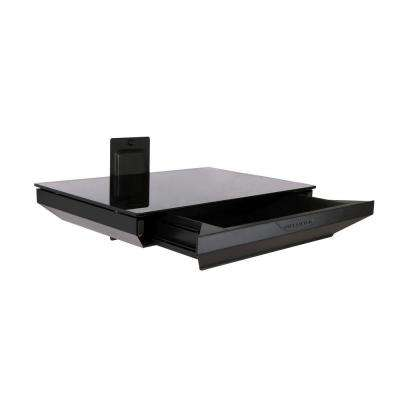 1-Tier AV Component Shelf with Drawer - Black