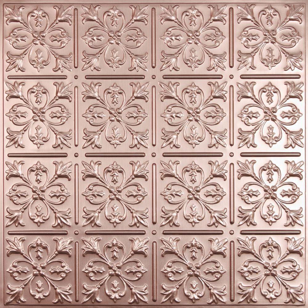 Fleur-de-lis Faux Copper 2 ft. x 2 ft. Lay-in or Glue-up