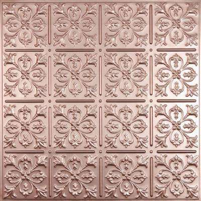 Fleur-de-lis Faux Copper 2 ft. x 2 ft. Lay-in or Glue-up Ceiling Panel (Case of 6)