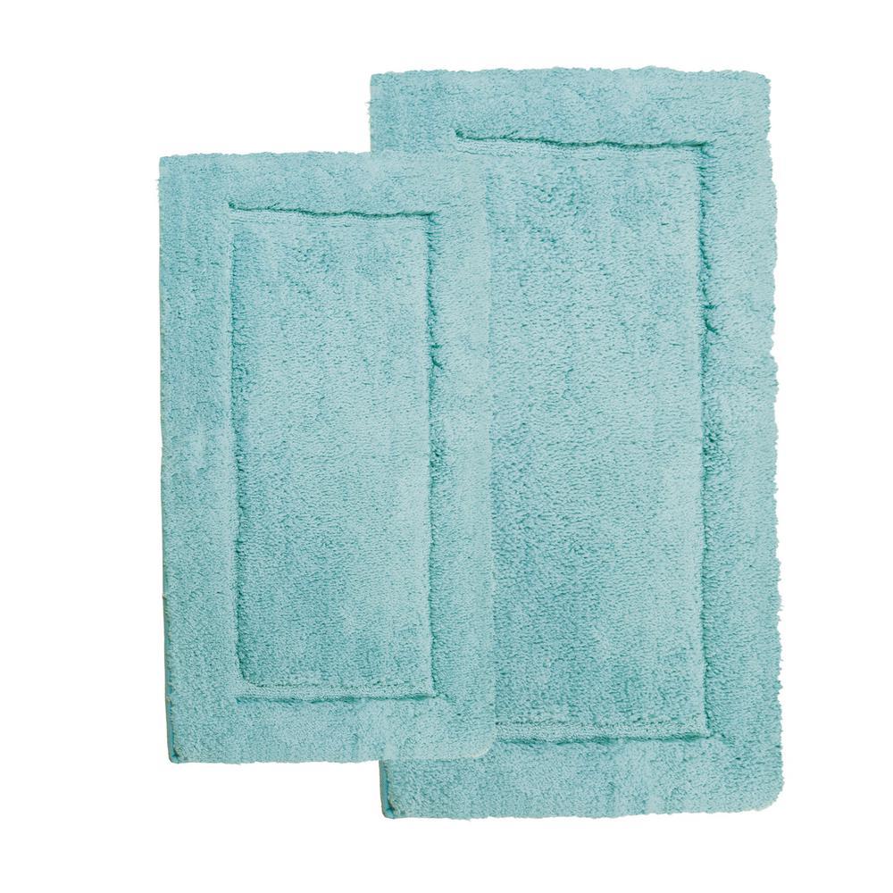 Microfiber Spa Blue 23 in. x 39 in. 2-Piece Bath Rug Set