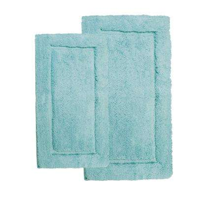 Microfiber Spa Blue 23 in. x 39 in. 2-Piece Bath Rug Set