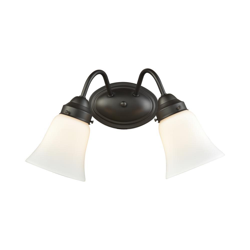 Califon 2-Light Oil Rubbed Bronze With White Glass Bath Light