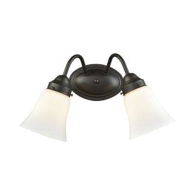 Califon 2-Light Oil Rubbed Bronze With White Glass Bath Light