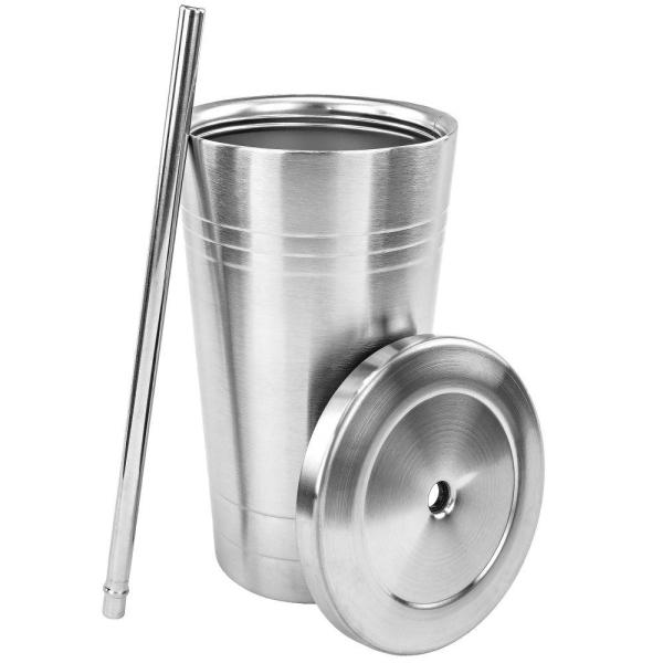 843bf36f0da Southern Homewares Stainless Steel Double Walled Insulated Cup with Straw  and Lid