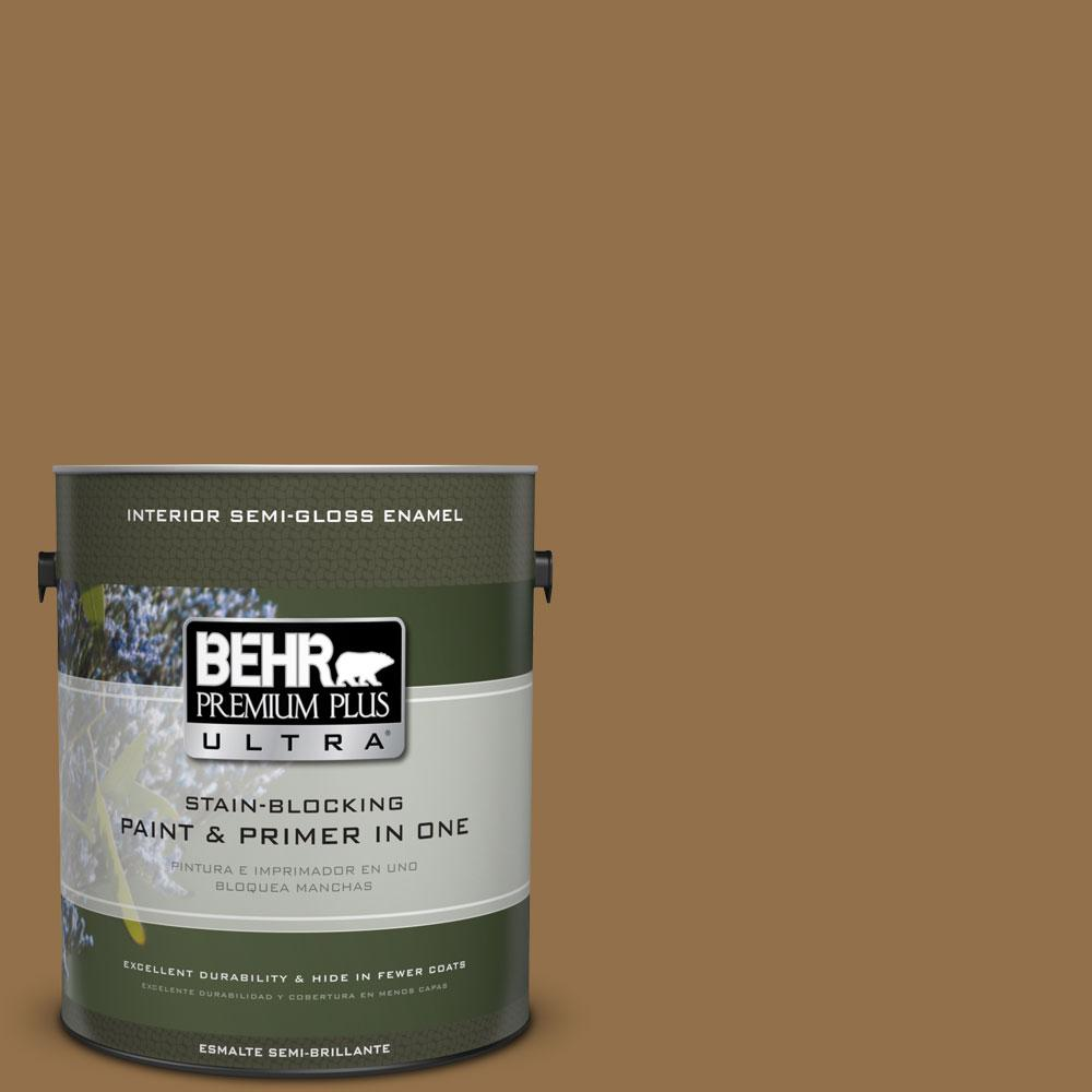 BEHR Premium Plus Ultra 1-gal. #N280-7 Brass Button Semi-Gloss Enamel Interior Paint