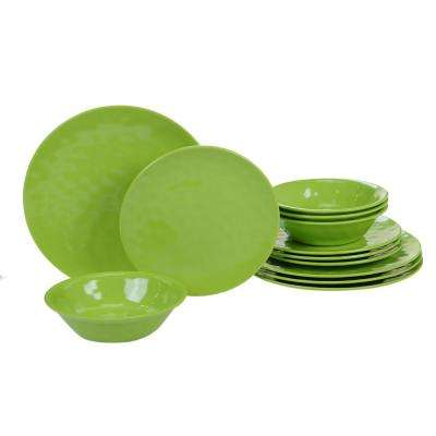 Melamine Green 12-Piece Dinnerware Set