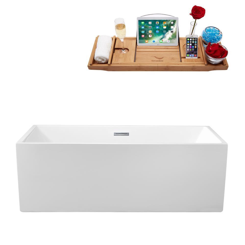 61.8 in. Acrylic Flatbottom Non-Whirlpool Bathtub in White