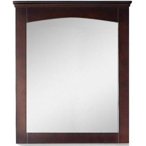 16-Gauge-Sinks 30 in. x 31.5 in. Single Framed Wall Mirror in Lacquer-Stain Walnut