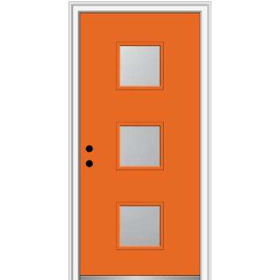 32 in. x 80 in. Aveline Right-Hand Inswing 3-Lite Frosted Glass Painted Steel Prehung Front Door on 4-9/16 in. Frame