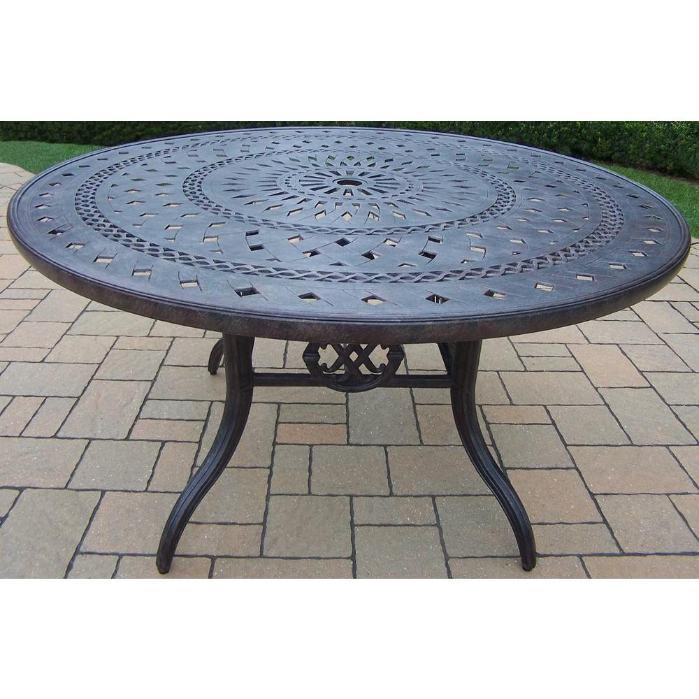 Oakland Living Belmont Aluminum Round Patio Dining TableHDPart - 60 inch round aluminum patio table