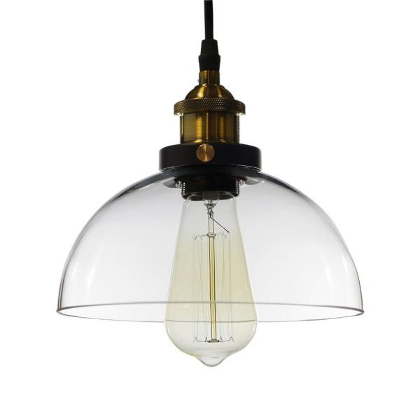 Kolvr 10 in. 1-Light Indoor Clear Finish Pendant Lamp with Light Kit