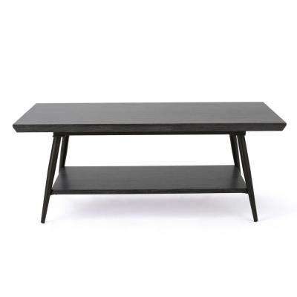 Lathom Black Wood and Metal Coffee Table with Shelf