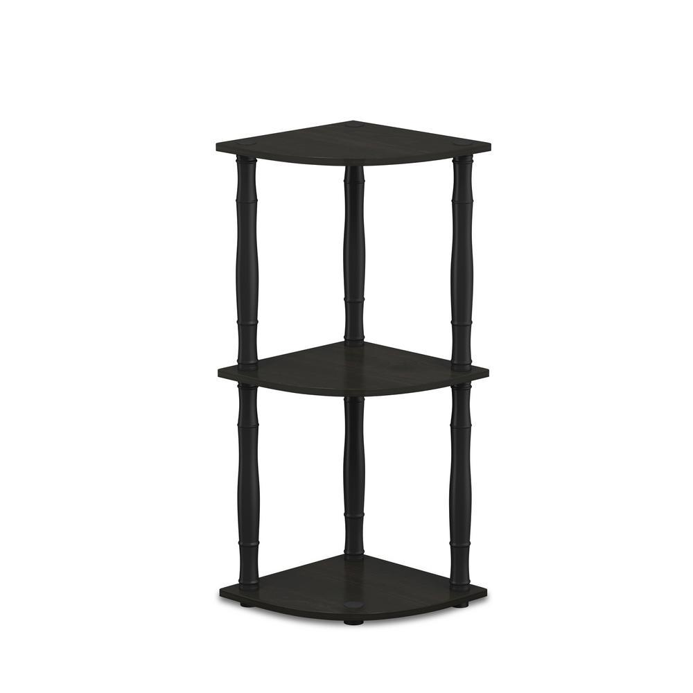29.6 in. Espresso/Black Plastic 3-shelf Corner Bookcase with Open Storage