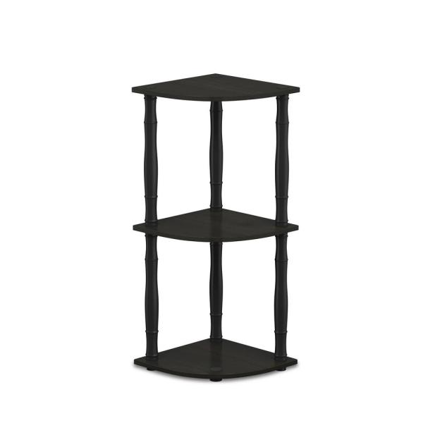 Furinno Turn-N-Tube Espresso/Black 3-Tier Corner Display Rack Multipurpose