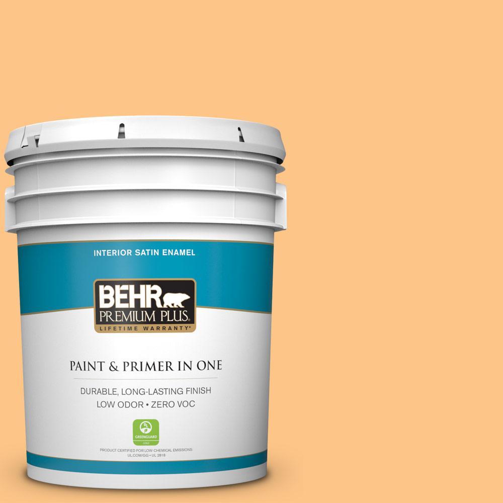 BEHR Premium Plus 5-gal. #P240-4 Mango Tango Satin Enamel Interior Paint