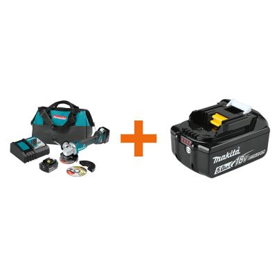 18-Volt 5.0Ah LXT Lithium-Ion Brushless 4-1/2 / 5 in. Cut-Off/Angle Grinder Kit with bonus 18V LXT Battery Pack 5.0Ah