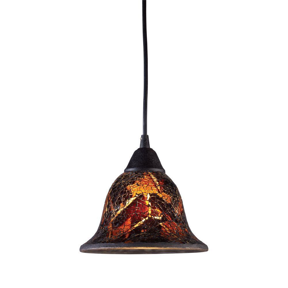 Firestorm 1-Light Dark Rust Ceiling Pendant