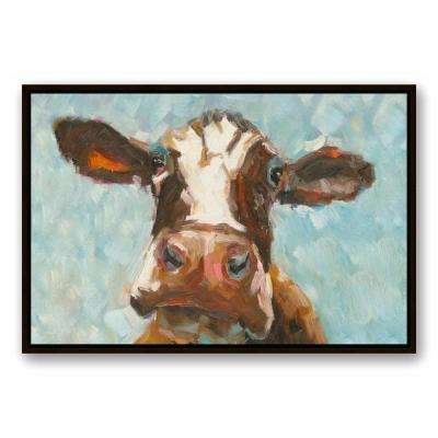 24 in. x 36 in. ''Curious Cow 1'' Printed Framed Canvas Wall Art