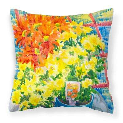 14 in. x 14 in. Multi-Color Lumbar Outdoor Throw Pillow Flower Mums Canvas