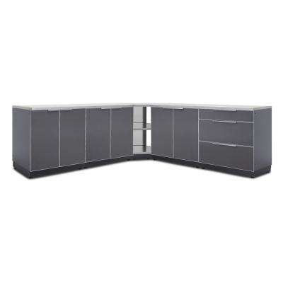 Slate Gray 7-Piece 128 in. W x 36.5 in. H x 24 in. D Outdoor Kitchen Cabinet Set with Countertops