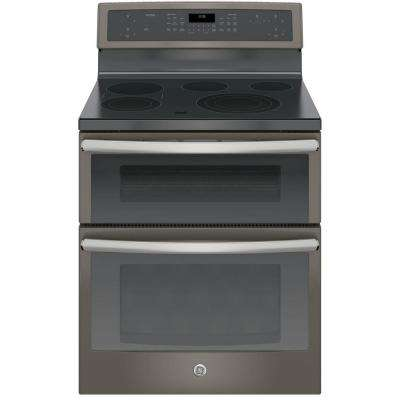 30 in. 6.6 cu. ft. Double Oven Electric Range with Self-Cleaning Convection Oven (Lower Oven) in Slate
