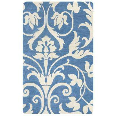 Marianna Fields Blue Floral Hand Tufted Wool 8 ft. x 10 ft. Area Rug