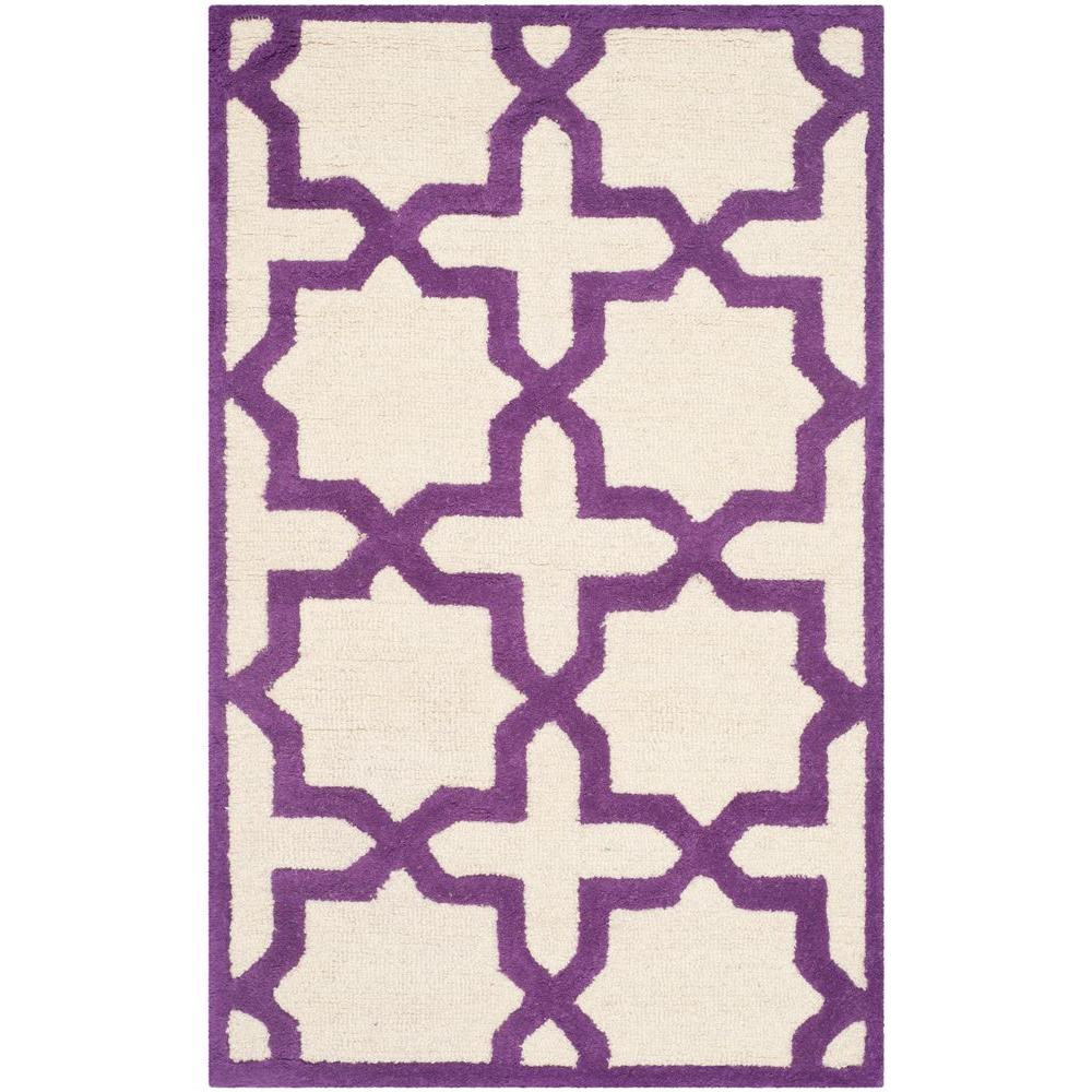 Cambridge Ivory/Purple 2 ft. 6 in. x 4 ft. Area Rug