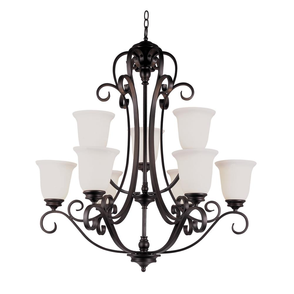 Bel Air Lighting Garland Ii 9 Light Rubbed Oil Bronze Chandelier With Frosted Shades