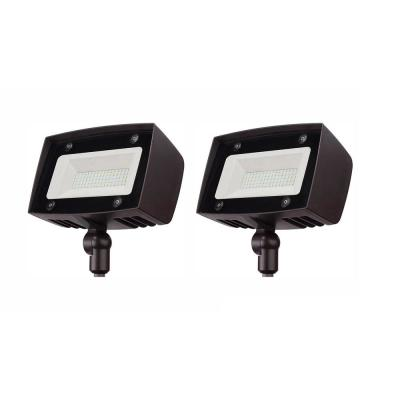 350-Watt Equivalent Integrated Outdoor LED Flood Light, 5000 Lumens, Dusk to Dawn Outdoor Security Light (2-Pack)