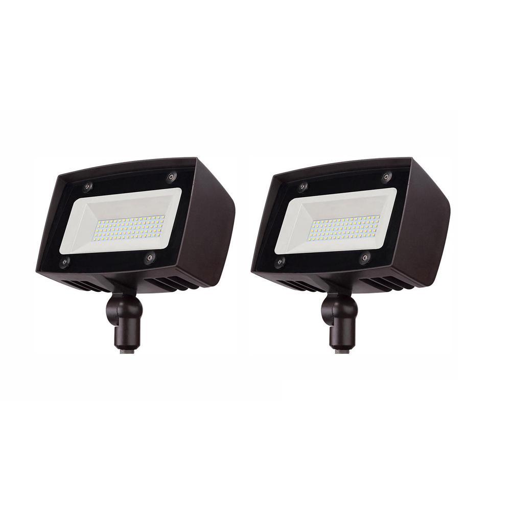 350-Watt Equivalent Integrated Outdoor LED Flood Light, 5000 Lumens, Dusk to Dawn Outdoor Security Light (2-Pack)