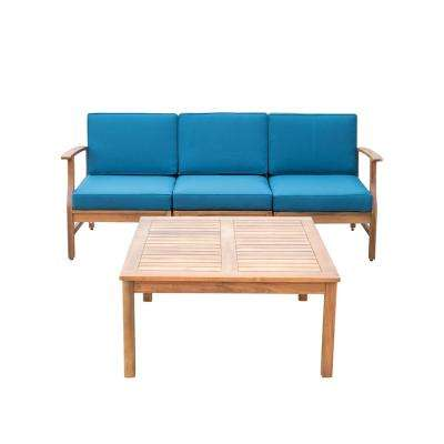 Giancarlo Teak 4-Piece Wood Patio Conversation Set with Blue Cushions