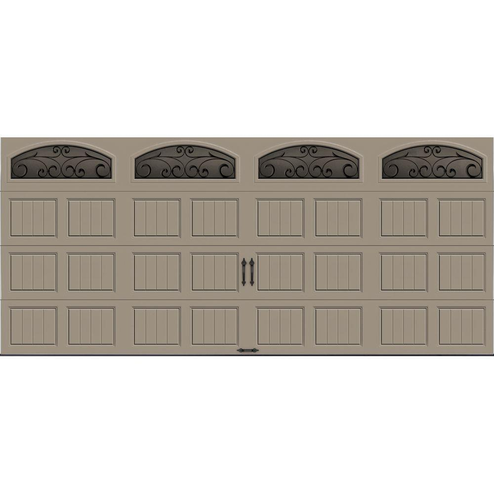 Clopay Gallery Collection 16 ft. x 7 ft. 18.4 R-Value Intellicore Insulated Sandtone Garage Door with Wrought Iron Window