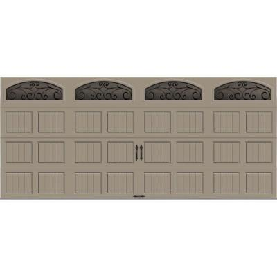 Gallery Collection 16 ft. x 7 ft. 18.4 R-Value Intellicore Insulated Sandtone Garage Door with Wrought Iron Window