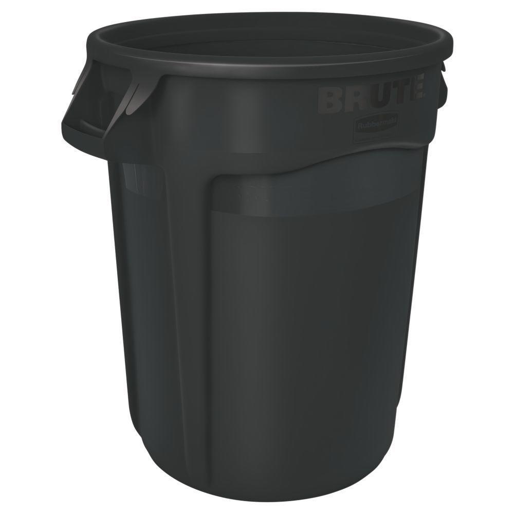 Brute 44 Gal. Black Round Vented Trash Can