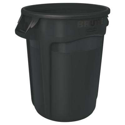 Brute 44 Gal. Black Round Vented Trash Can