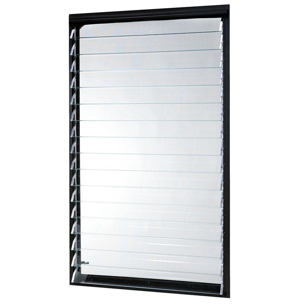 35 in. x 58.375 in. Jalousie Utility Louver Aluminum Screen Window - Bronze