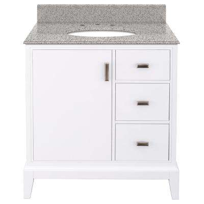 Shaelyn 31 in. W x 22 in. D Bath Vanity in White Right Hand Drawers with Granite Vanity Top in Napoli with White Basin