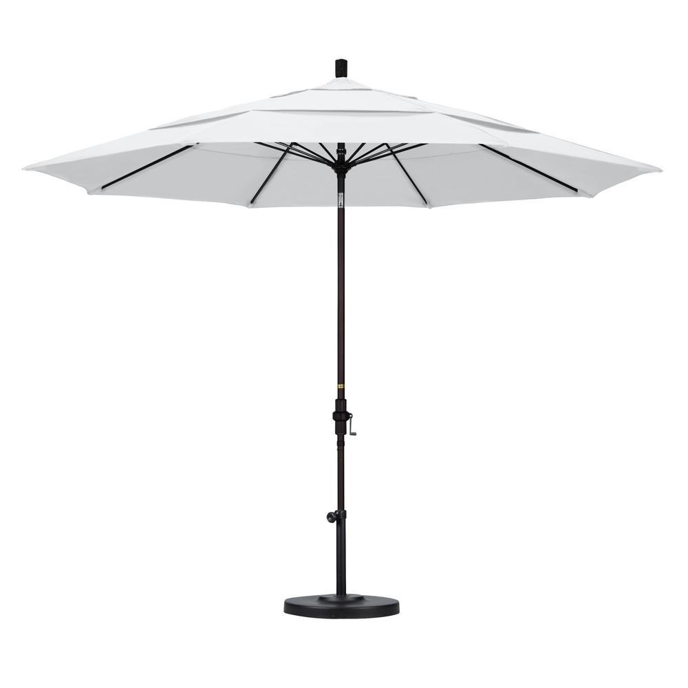 11 ft. Fiberglass Collar Tilt Double Vented Patio Umbrella in White Olefin