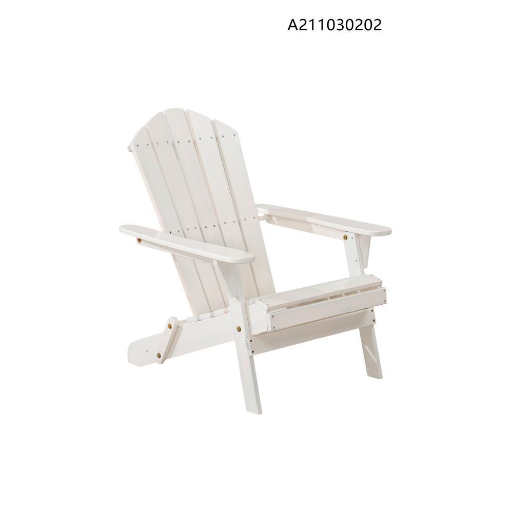 Heavy Duty Sun Lounger, Hampton Bay Adirondack Classic White Outdoor Patio Folding Wood Chair A211030202 The Home Depot
