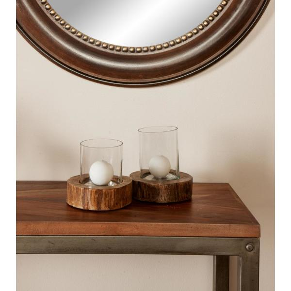 Litton Lane Brown Mango Wood Candle Holders with Clear Glass Hurricanes