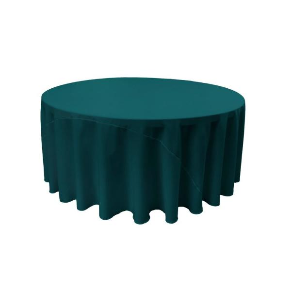 LA Linen 108 in. Dark Teal Round Polyester Poplin Tablecloth