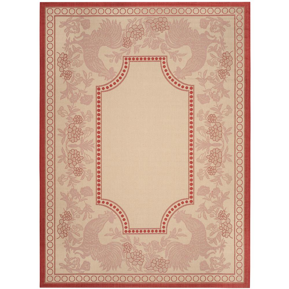 Courtyard Natural/Red 6 ft. 7 in. x 9 ft. 6 in.