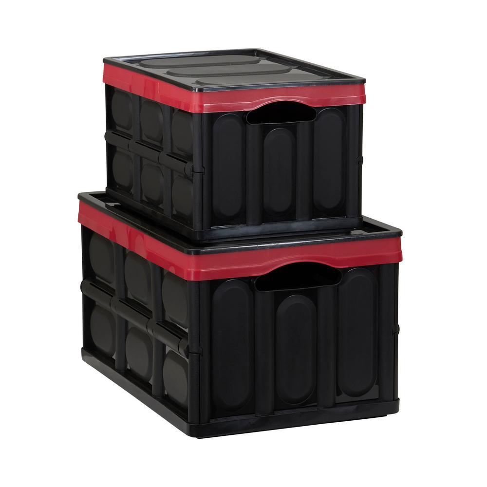 14.62 Gal. Storage Tote in Black and Red (2-Pack)