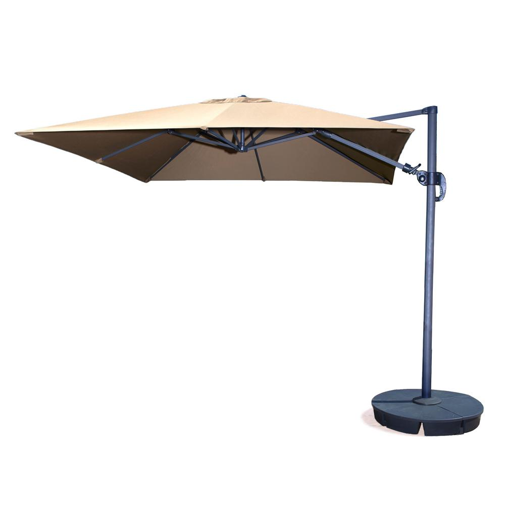 Island Umbrella Santorini Ii 10 Ft Square Cantilever Patio In Beige Sunbrella Acrylic