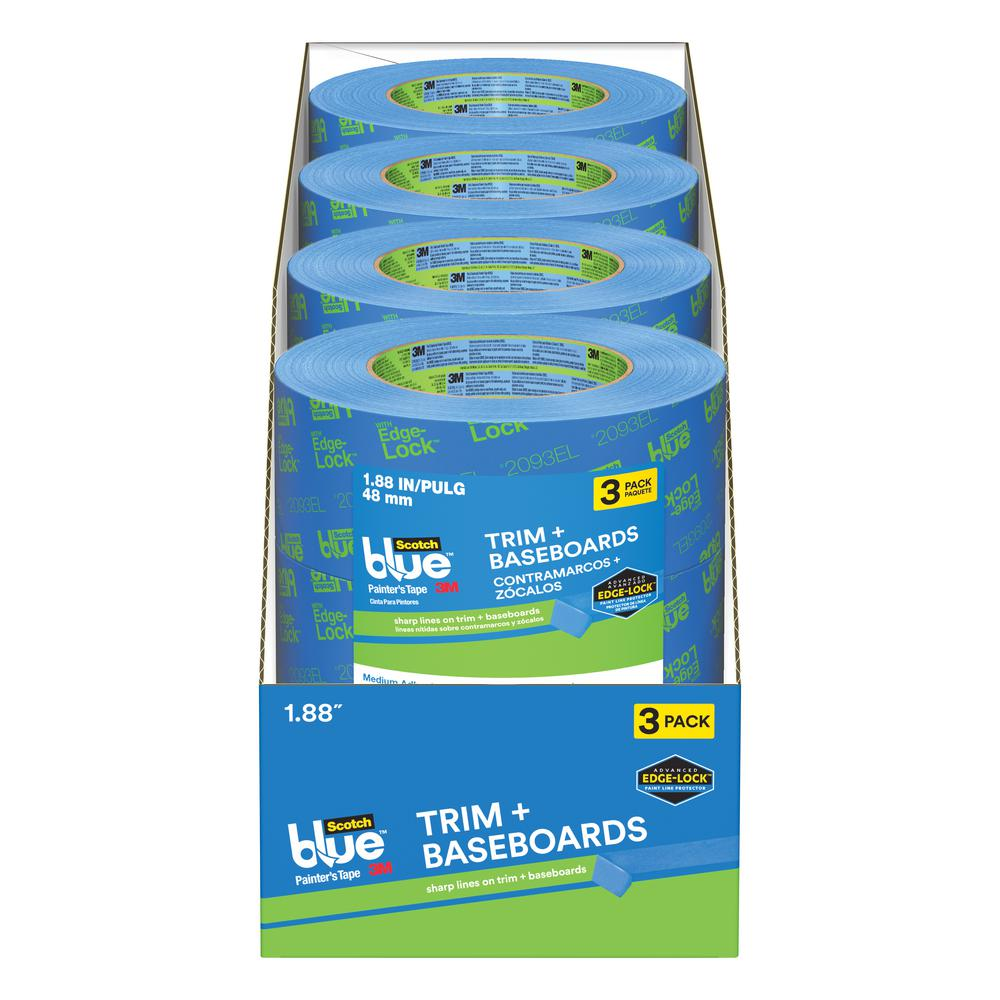 3M ScotchBlue 1.88 in. x 60 yds. Trim and Baseboards Painter's Tape with Edge-Lock (Case of 12)