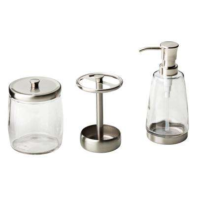 3-Piece Bathroom Countertop Accessory Kit with Soap Pump, Toothbrush Holder and Apothecary Jar in Satin Nickel