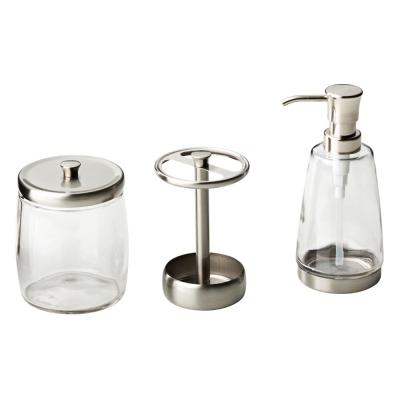 Delta 3-Piece Bathroom Countertop Accessory Kit with Soap Pump, Toothbrush Holder and Apothecary Jar in Brushed Nickel