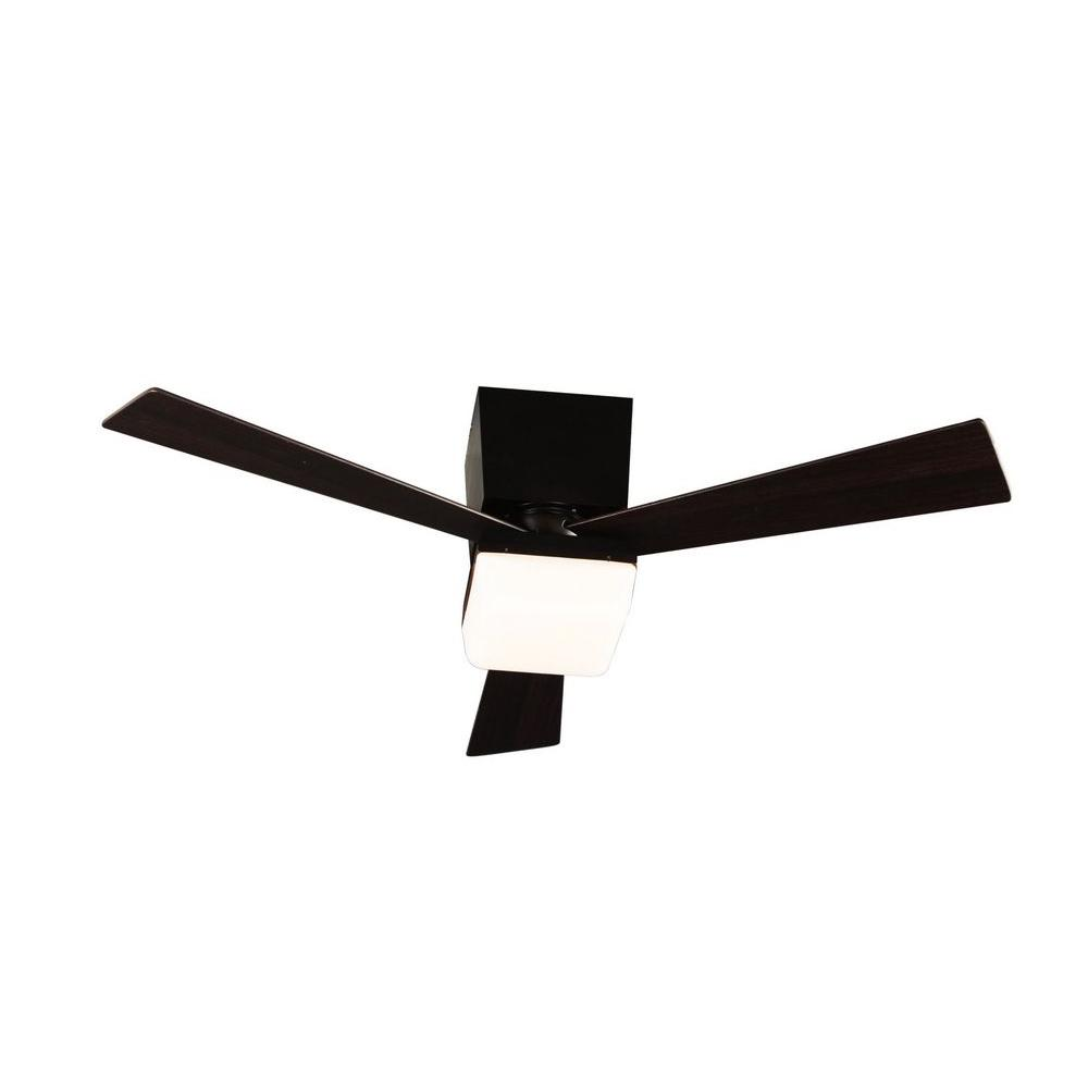 Hampton Bay Baco 52 in. Aged Bronze Ceiling Fan with 3 Reversible Plywood Blades and Single Opal Glass