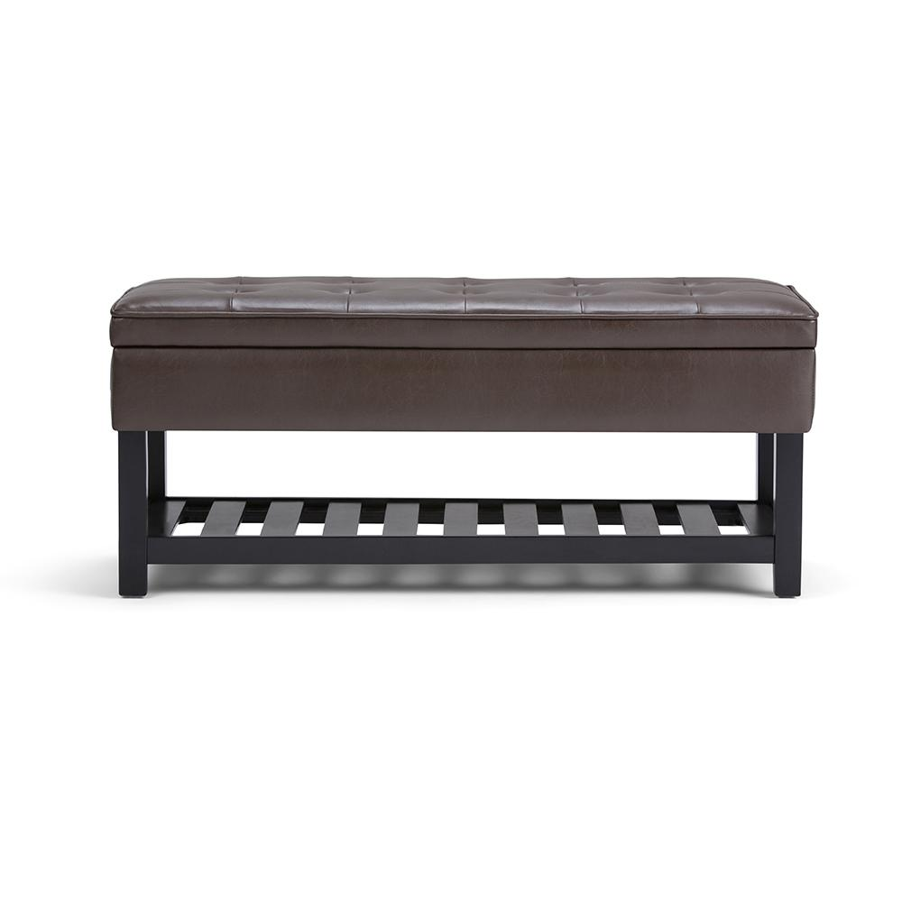 Cosmopolitan Chocolate Brown Entryway Storage Ottoman Bench with Open Bottom