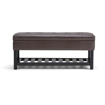 Cosmopolitan 44 in. Traditional Ottoman Bench in Chocolate Brown Faux Leather